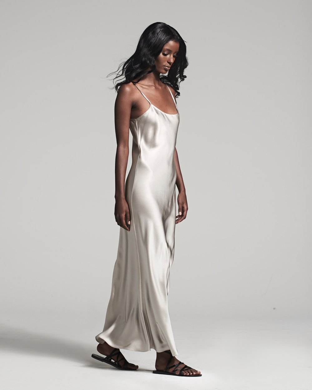 Liquid Slip Dress - Silver