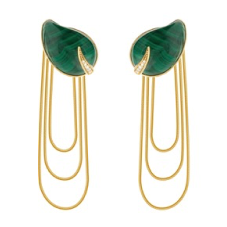 Malachite 3 Hoops Earrings