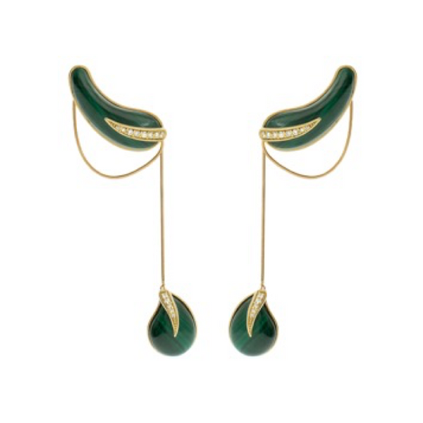 Malachite Long Earrings