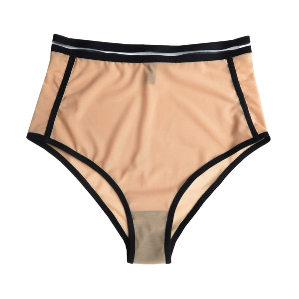High rise panties made with sheer beige fabric and black elastic detail