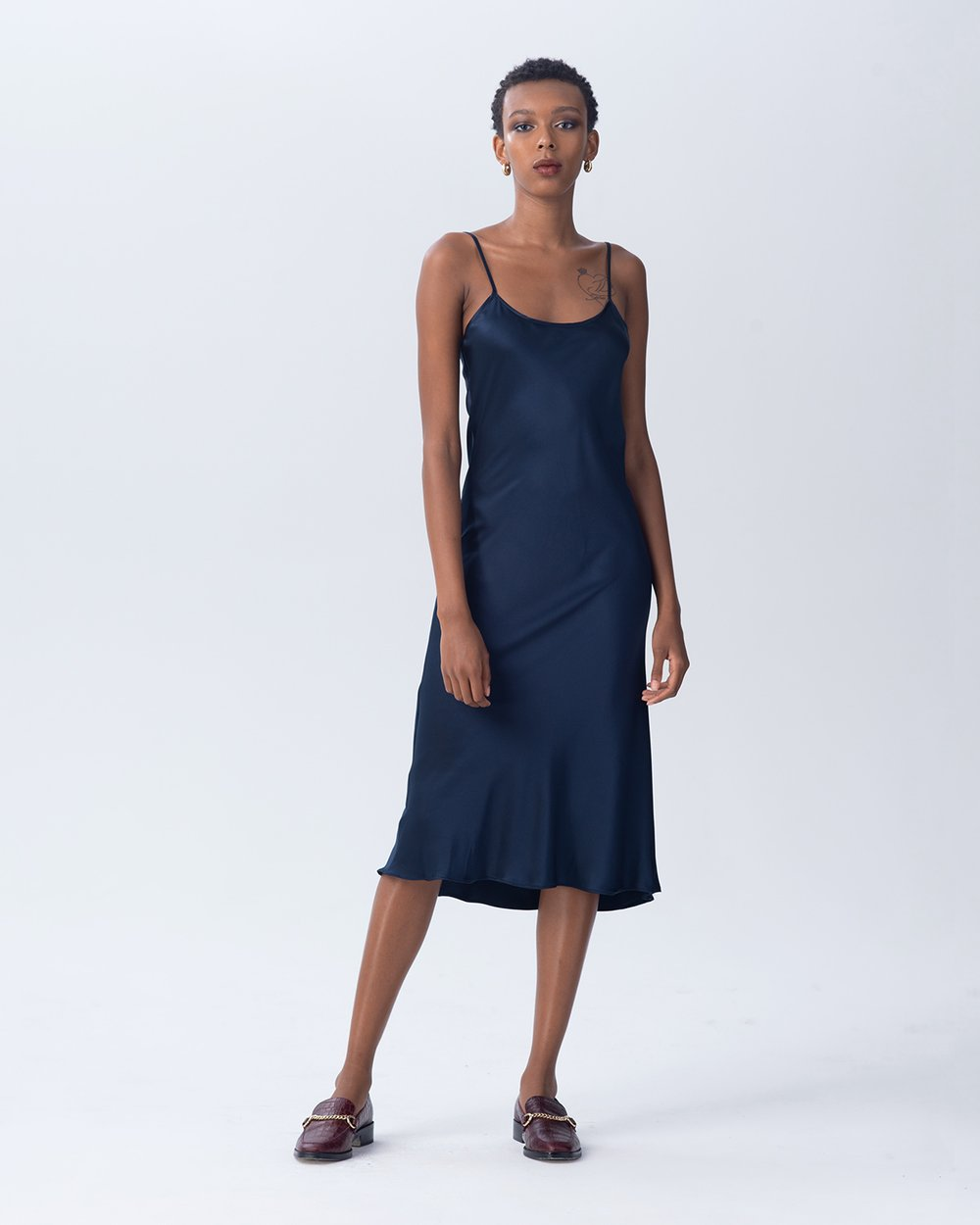 Midi Slip Dress - Navy