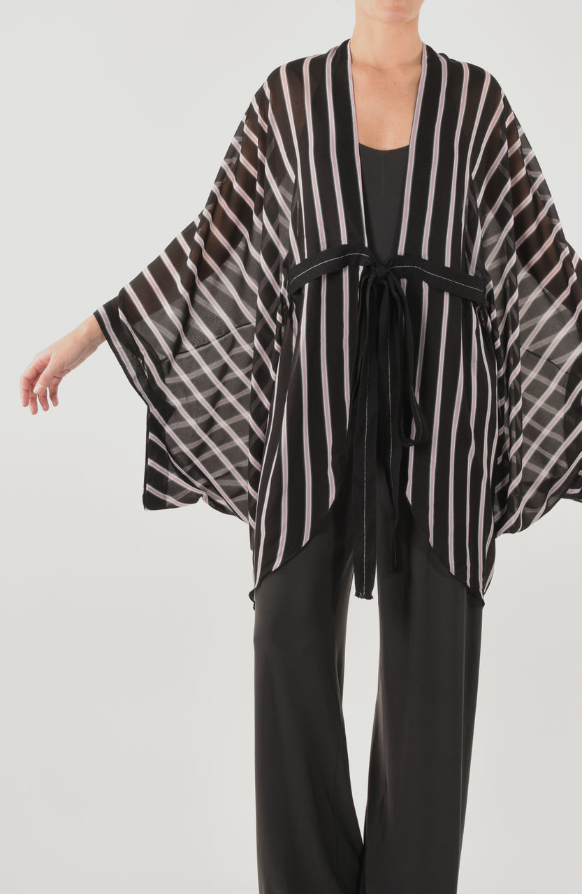The Moonlight Cruise Long Robe - Black/Pink
