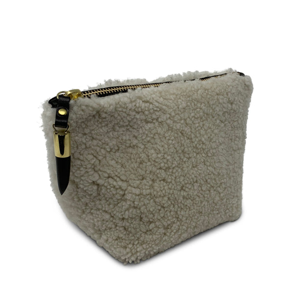 Shearling Makeup Bag - Natural