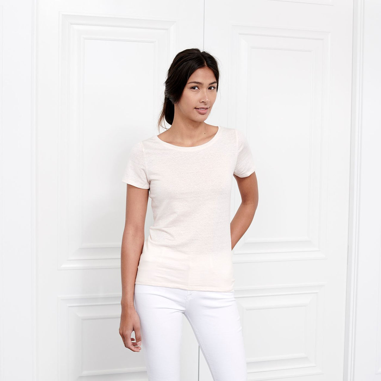 Resort Peach Linen Short Sleeve Tee with Scoop Neck