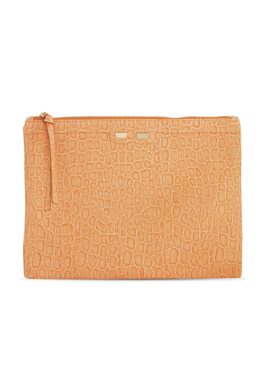 Orange leather pouch with faux crocodile texture