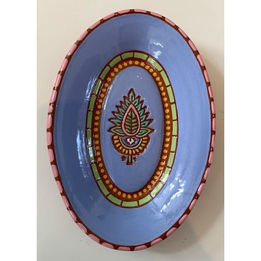 Periwinkle Lotus Oval Dish