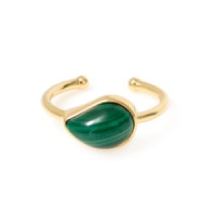 Malachite Pinky Ring, size 3 1/4