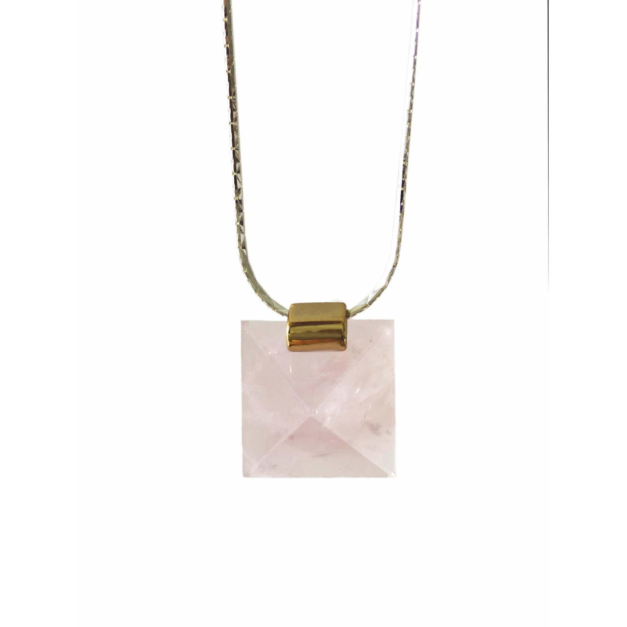Pyramid Rose Quartz Necklace with Silver Chain
