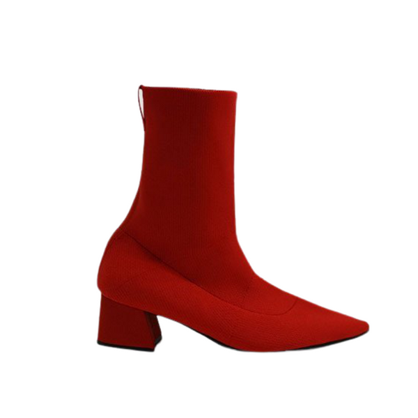No. 10 Knit Ankle Boots - Red