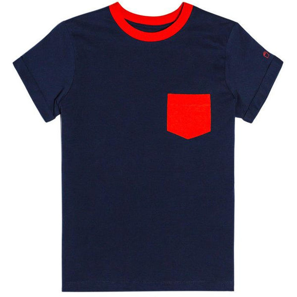 Red on Navy Contrast Pocket Tee