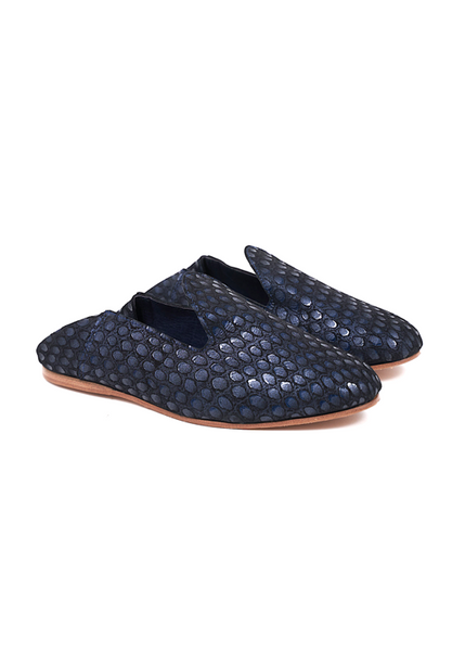 Pair of Babouche slipper dark blue leather with textured detail.