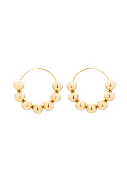 Gold hoop earrings with gold filled gold balls