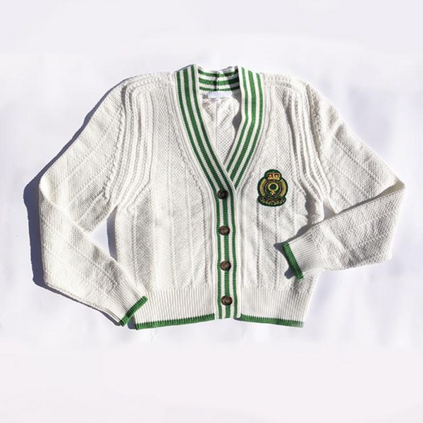Knit Cardigan with Feminist Crest - White/Green