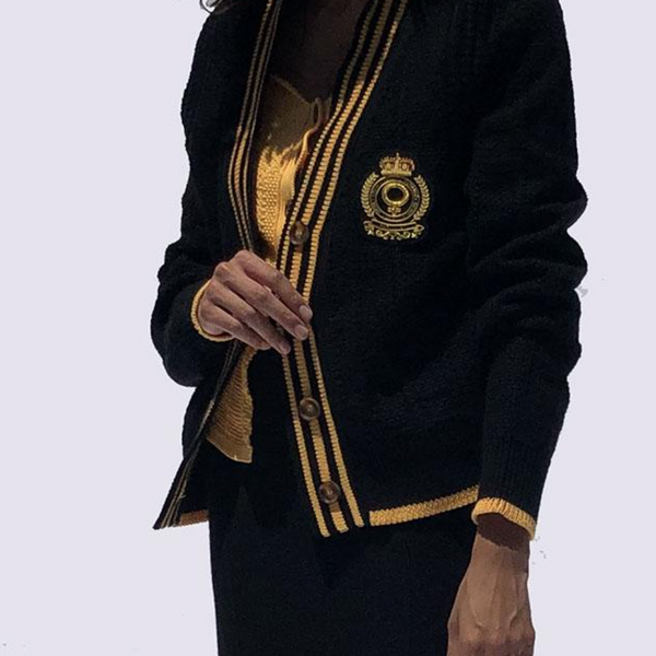 Knit Cardigan with Feminist Crest - Black/Yellow