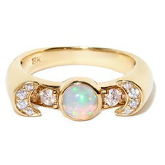 Luna Ring Yllw Gold Opal