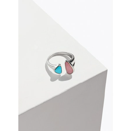 Pilar Inlay Ring Silver Pink Opal Turquoise