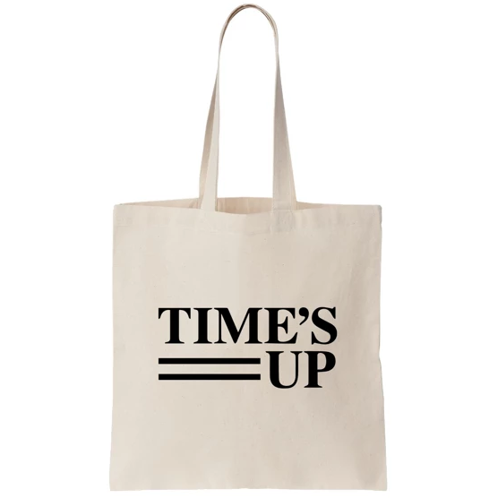 Time's Up Canvas Tote
