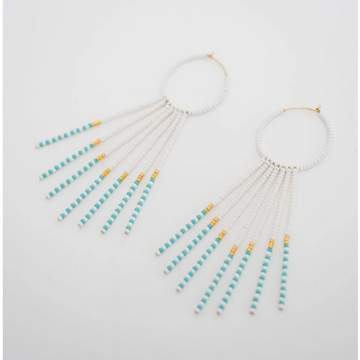 Porcupine Earrings - White, Turq, Gold