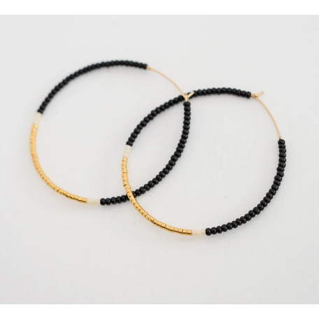 Large Hoop Earrings - Black & Gold