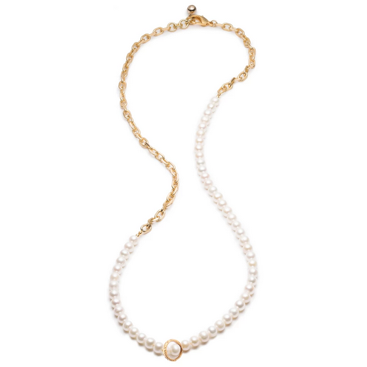 Plaza White Pearl Long Chain Necklace