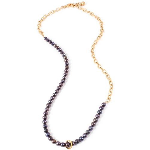 Plaza Black Pearl Long Chain Necklace