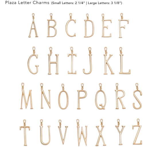PLAZA LARGE LETTERS GOLD PLATED BRASS