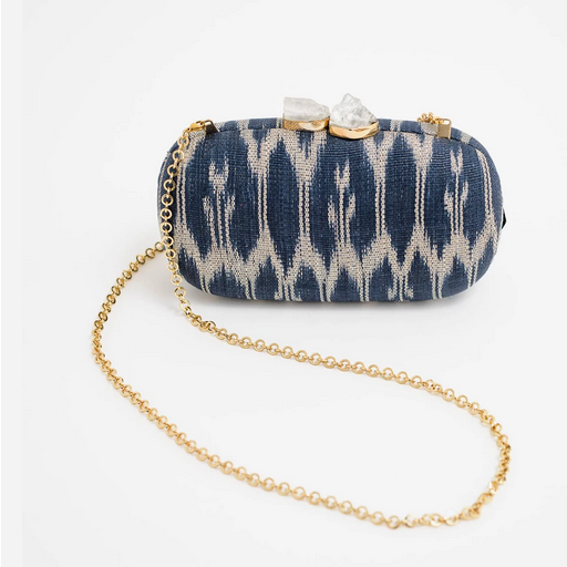 Rina Clutch - Navy/White