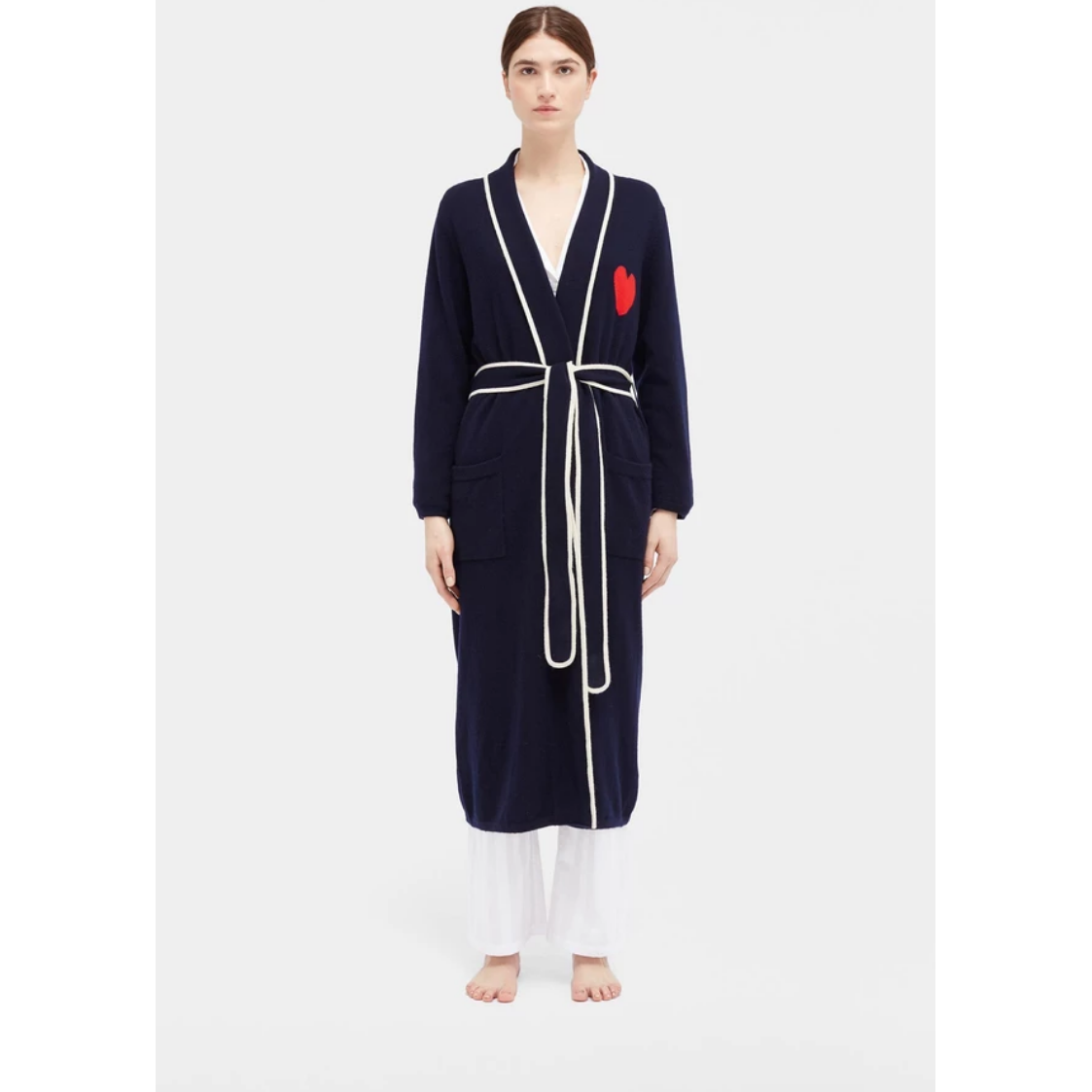 Love Heart Dressing Gown - Navy