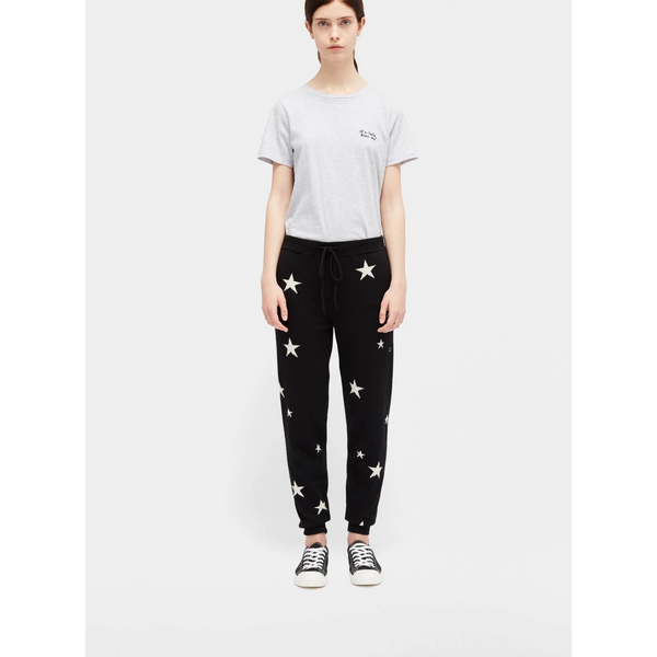 Cashmere Star Track Pant - Blck & Ivory