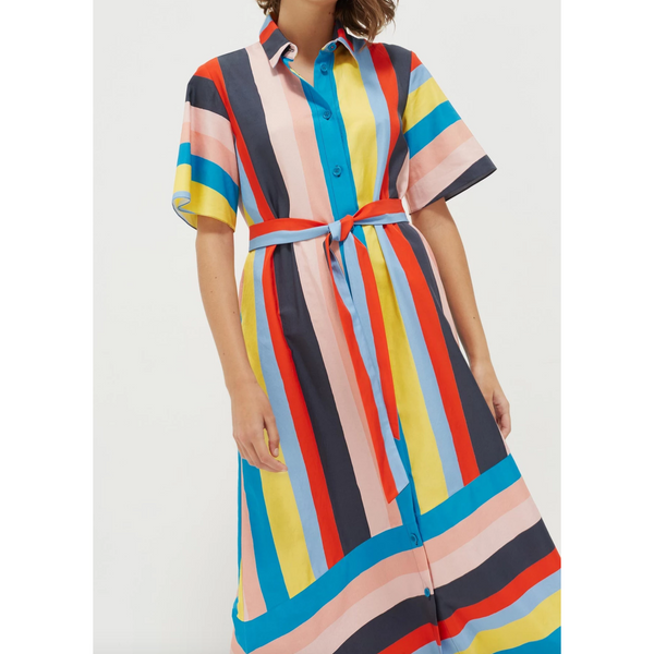 Riviera Stripe Midi Shirt Dress - Rainbow