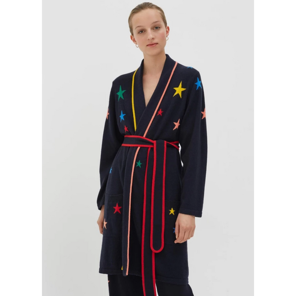 Rainbow Star Cashmere Dressing Gown - Navy