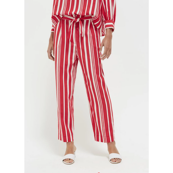 Striped Parasol Tie Waist Trousers - Red & Ivory