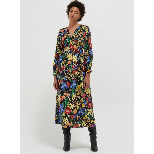 Black Charleston Floral Silk Dress