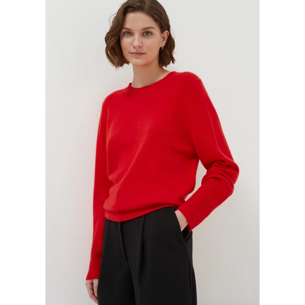 The Boxy Crewneck Cashmere Sweater - Red