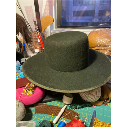 Sloped Boater Hat Dark Green with Trim