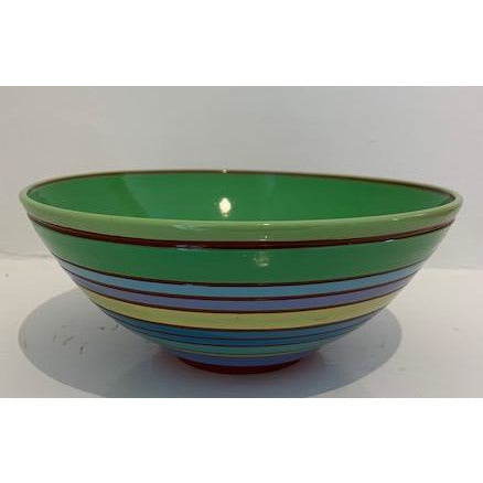 Striped Bowl with Grass Green Interior