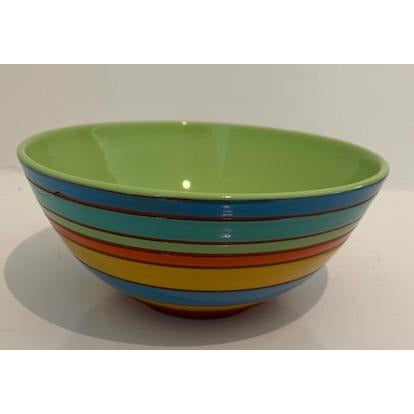 Striped Bowl with Lime Green Interior