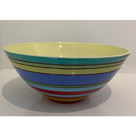 Striped Bowl with Mellow Yellow Interior