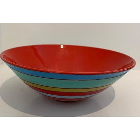 Striped Bowl with Red Interior