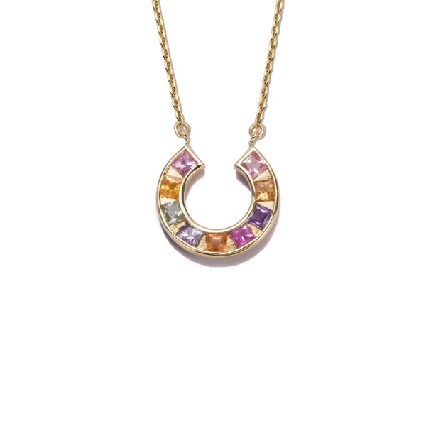 Sundial Necklace. with multicolored sapphires