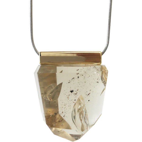 Universe Citrine Necklace with Stainless Steel chain