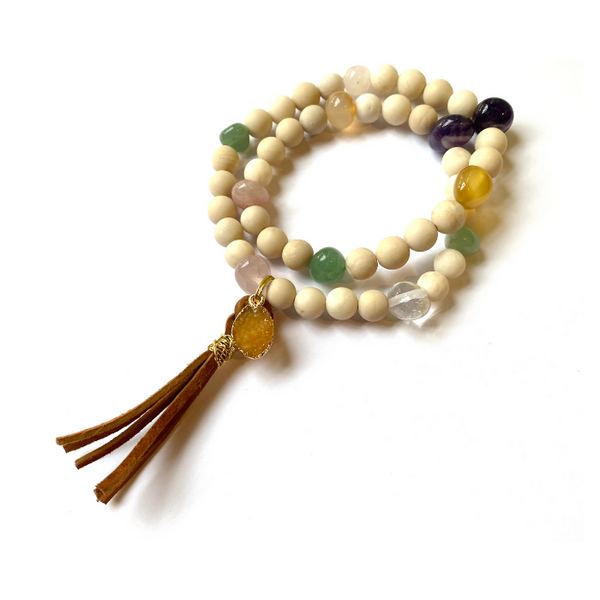 Jasper  Bracelet with Leather Tassel and Druzy Charm