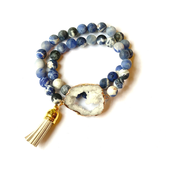 Sodalite Bracelet with Geode Druzy and Tassel