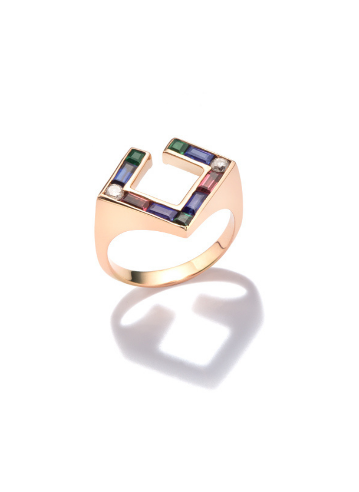 Open Square Ring with sapphires, tourmalines and round cut diamonds