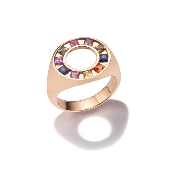 Full Moon Ring with multicolored sapphires princess cut