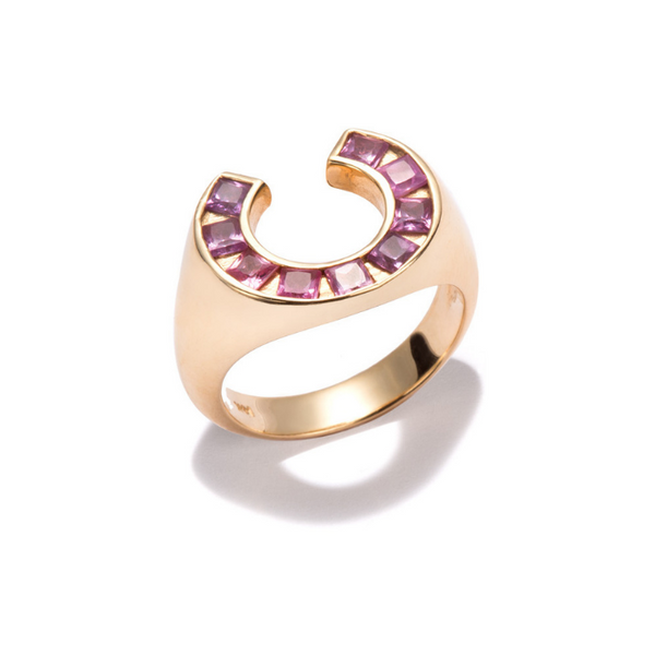 Sundial Ring with Amethysts Princess Cut
