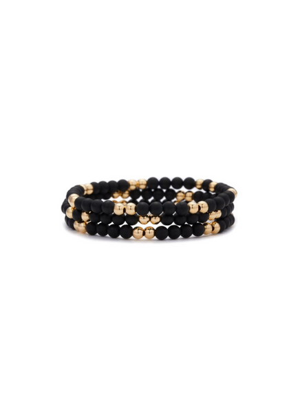 Andrea Onyx and Yellow Gold Bracelet 4mm