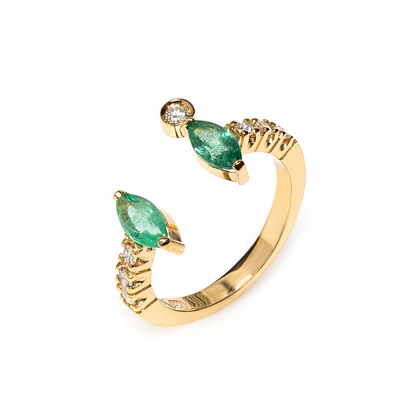18K Gold Ring with Emeralds and Diamonds