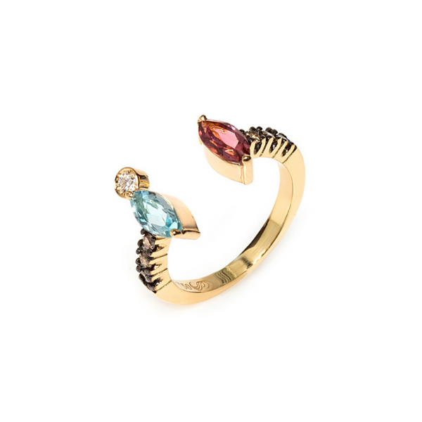 18K Gold Ring with Topaz, Tourmalines, and Diamond