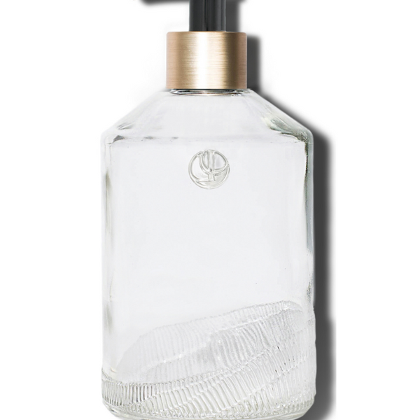 Glass Soap Empty Bottle, Black Pump